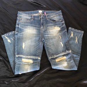 Destructed Denim Boyfriend Jeans